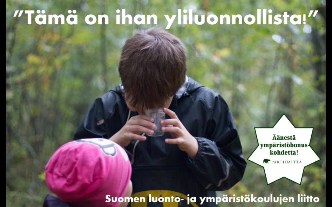 Äänestä ulkona oppimiselle Ympäristöbonusta!